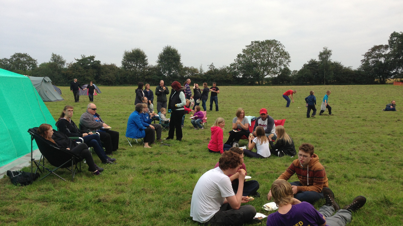 young people and family barbeque