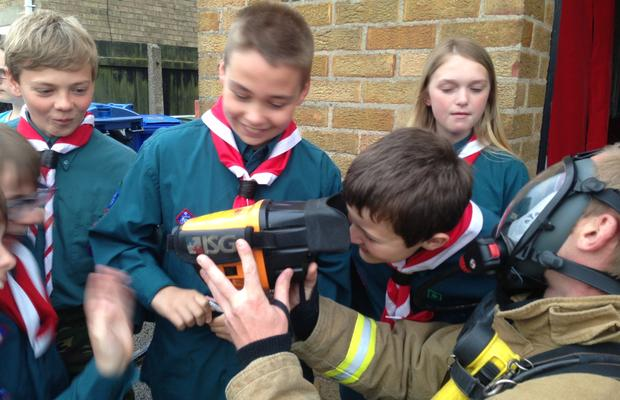 Withernsea Scouts at the Fire Station
