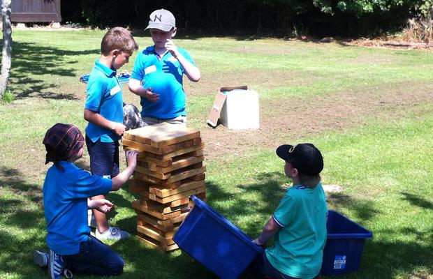 Beavers playing Jenga