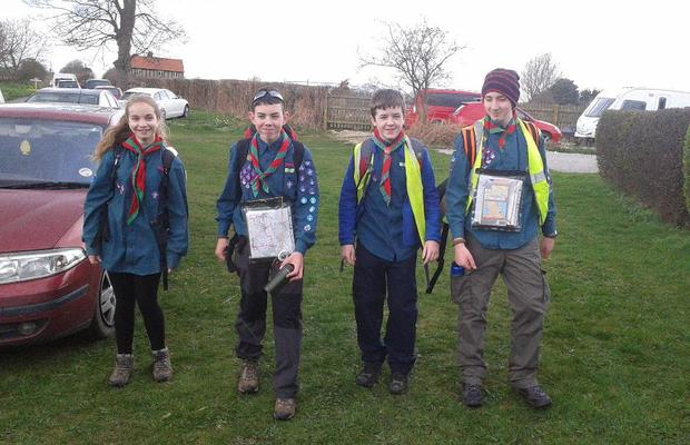 Withernsea Scouts at Wolds Challenge Hike